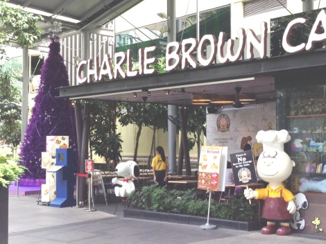 It's hard to see here, but there's a big purple tree next to the Charlie Brown Cafe and it makes me think of the aluminum trees in the Peanuts Christmas special.