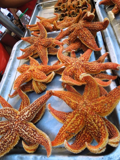 Starfish seem too friendly somehow to eat. Plus, we didn't know how to eat them.