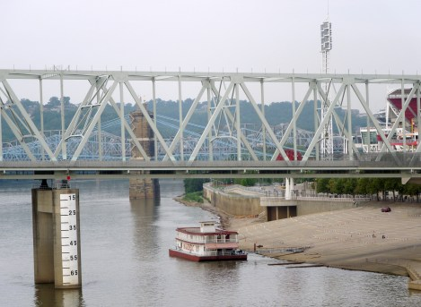 A view of the Ohio River and several other bridges from the Purple People Bridge.