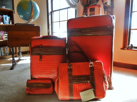 Samantha-Brown-Orange-Croco-luggage-best-luggage-to-buy