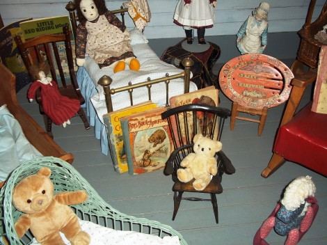 Old fashioned toys in the lighthouse attic.