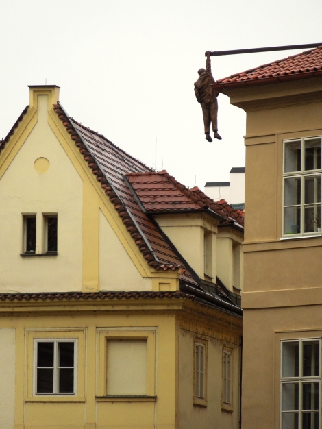 Statue of a hanging man that can be viewed from the Communist headquarters. The man is supposed to represent Sigmund Freud.