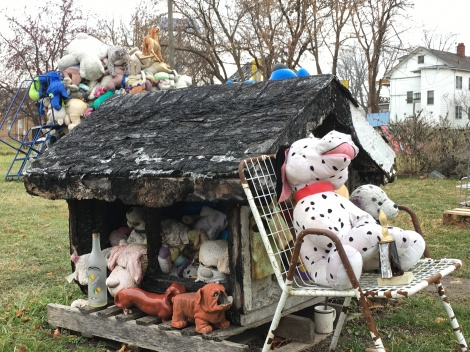 Junk as art stuffed animals doghouse toys