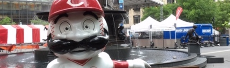 things-to-do-in-Cincinnati-Mr. Redlegs-mascot-Reds-Fountain-Square-Cincinnati