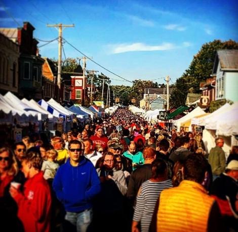 Crowds at Waynesville's Sauerkraut Festival