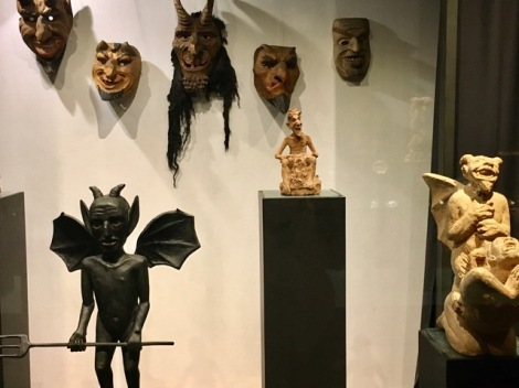 Devil masks on display at the Devil Museum