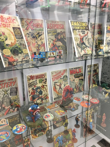 Spiderman comic book display